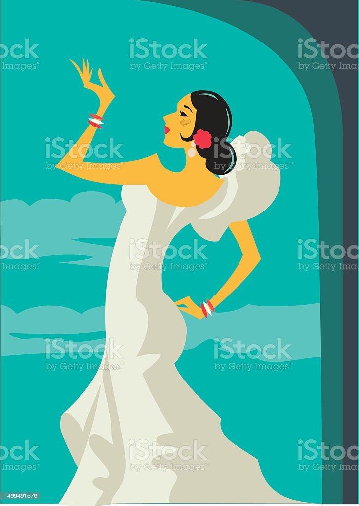 Retro Spanish Flamenco Dancer vector art illustration