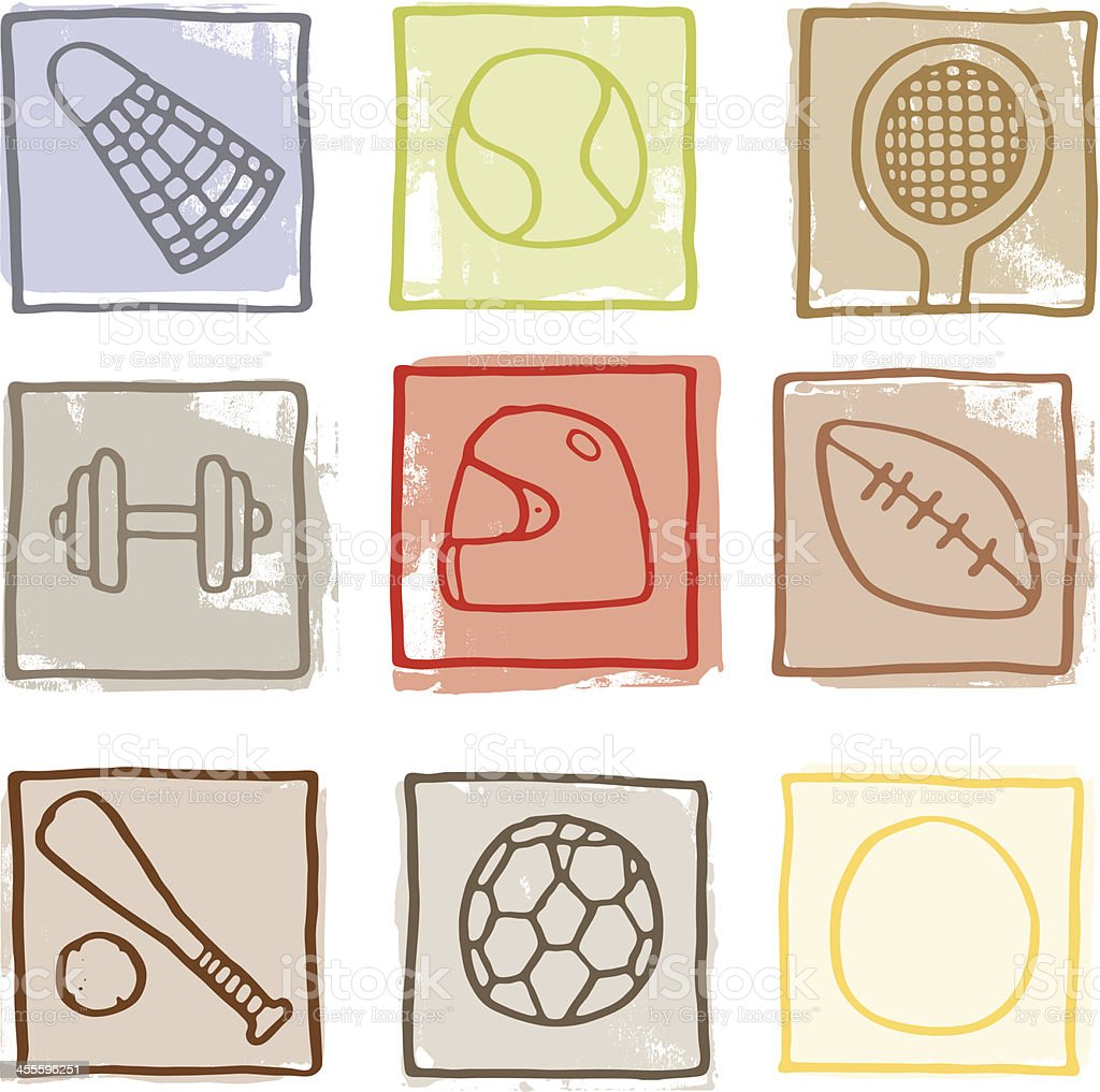 Retro sport block icons royalty-free stock vector art