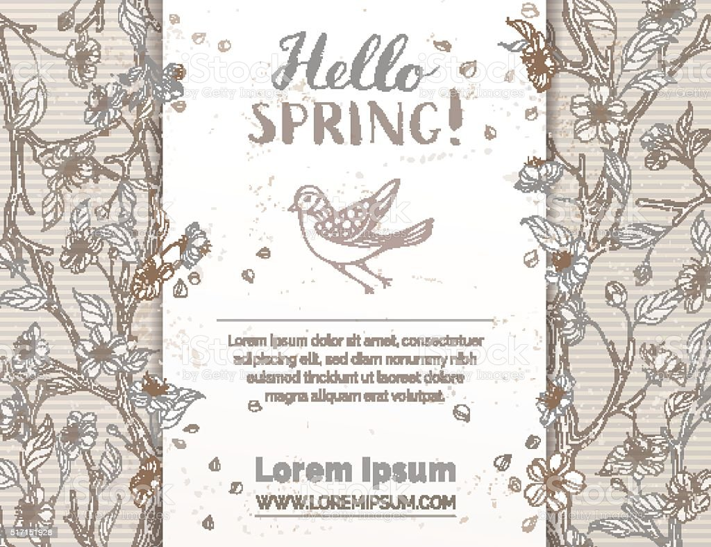 Retro spring card template. vector art illustration