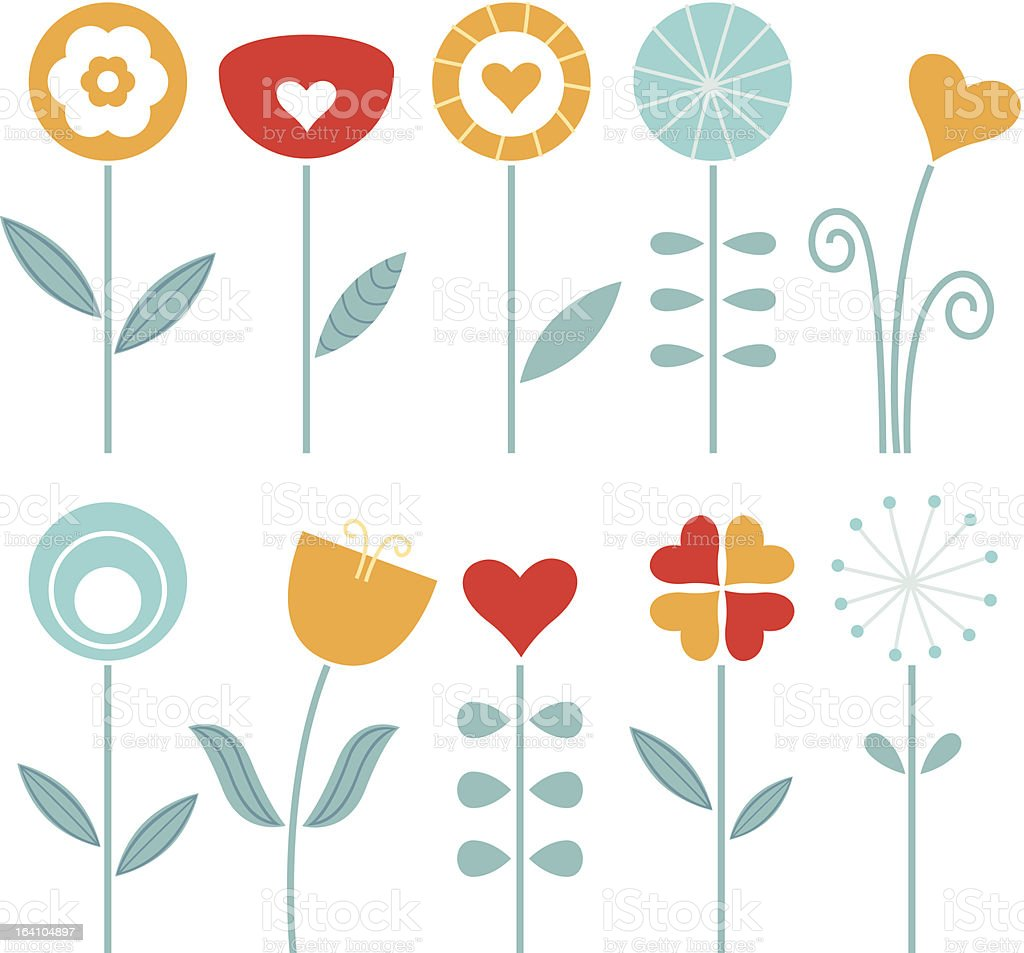 Retro spring flowers set isolated on white royalty-free stock vector art
