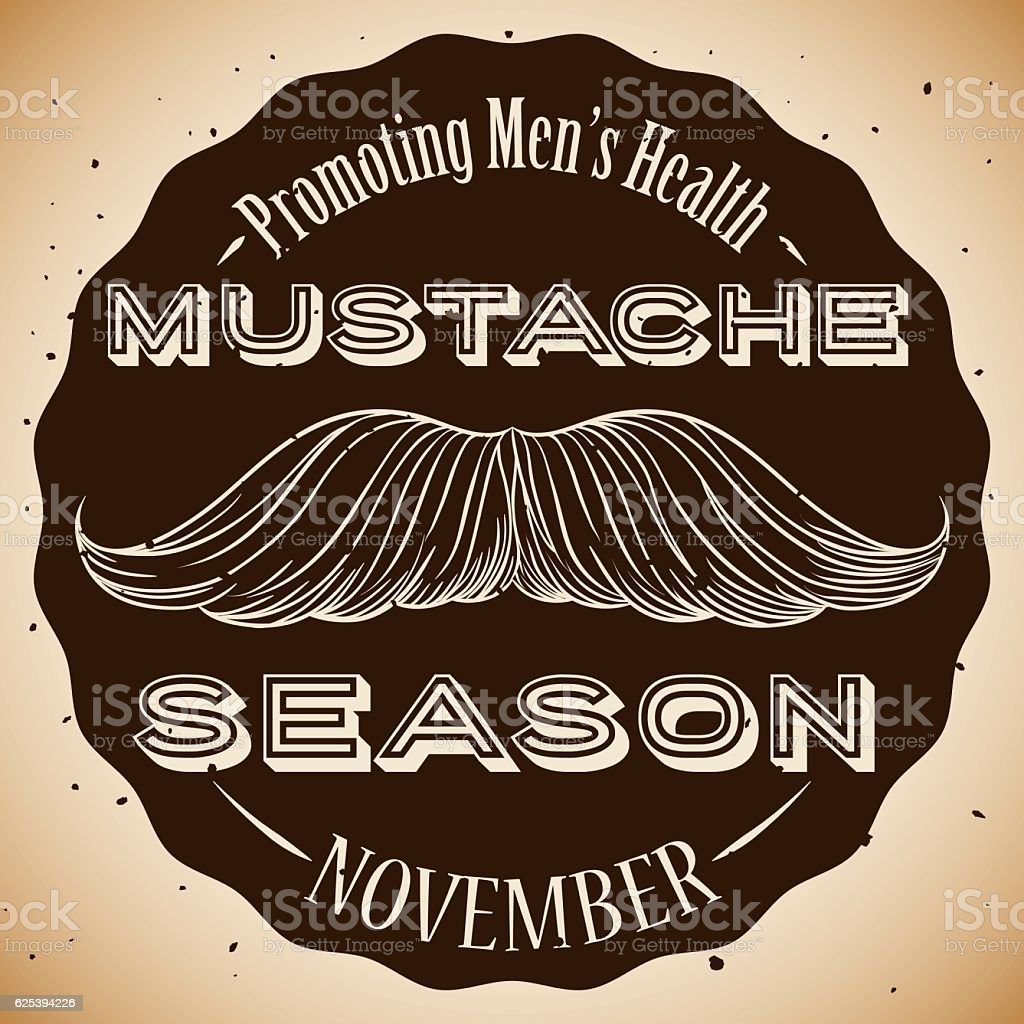 Retro Stamp and Hand Drawn Mustache Promoting Men's Health vector art illustration