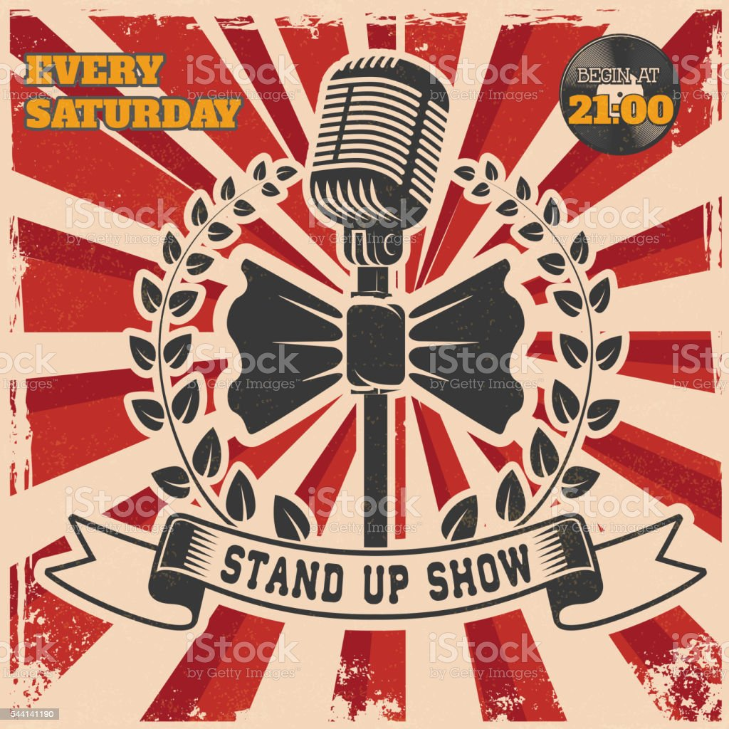 Retro stand up comedy show vintage poster template. vector art illustration