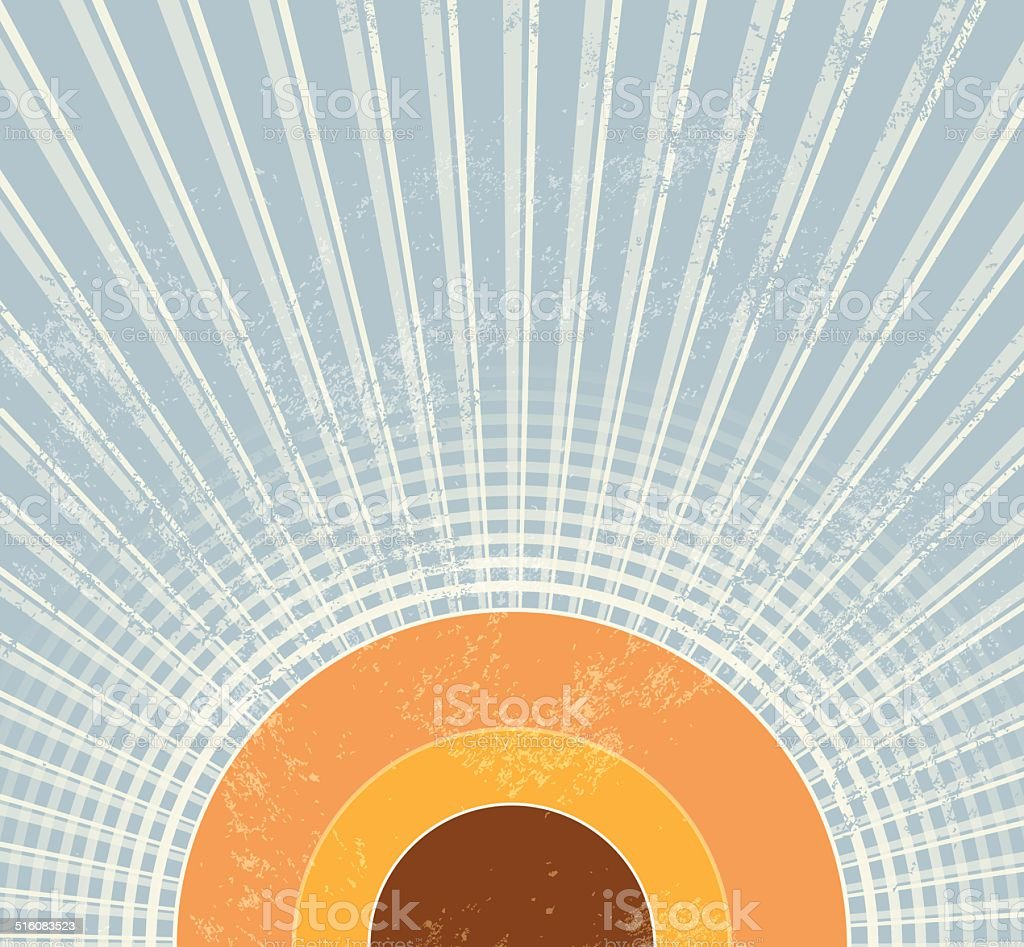 Retro starburst background 1970s vector art illustration