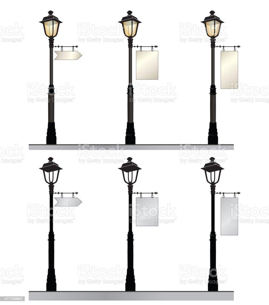 Retro street lights with arrow place. vector art illustration
