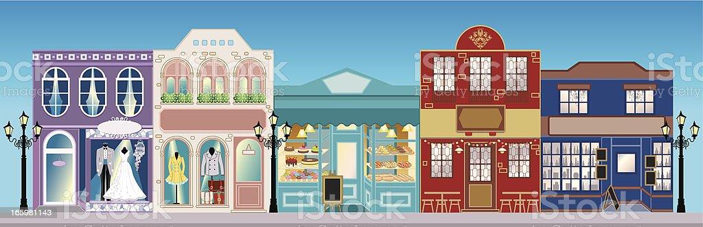 Retro Street Shops vector art illustration