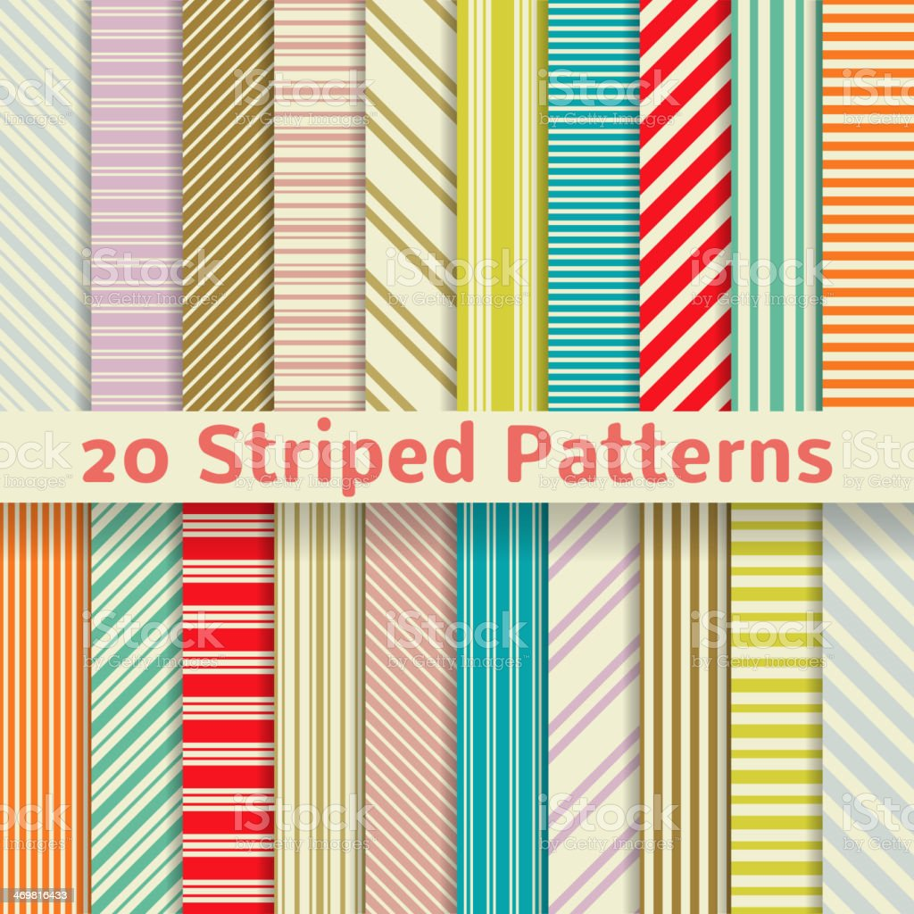 Retro striped vector seamless patterns (tiling) vector art illustration