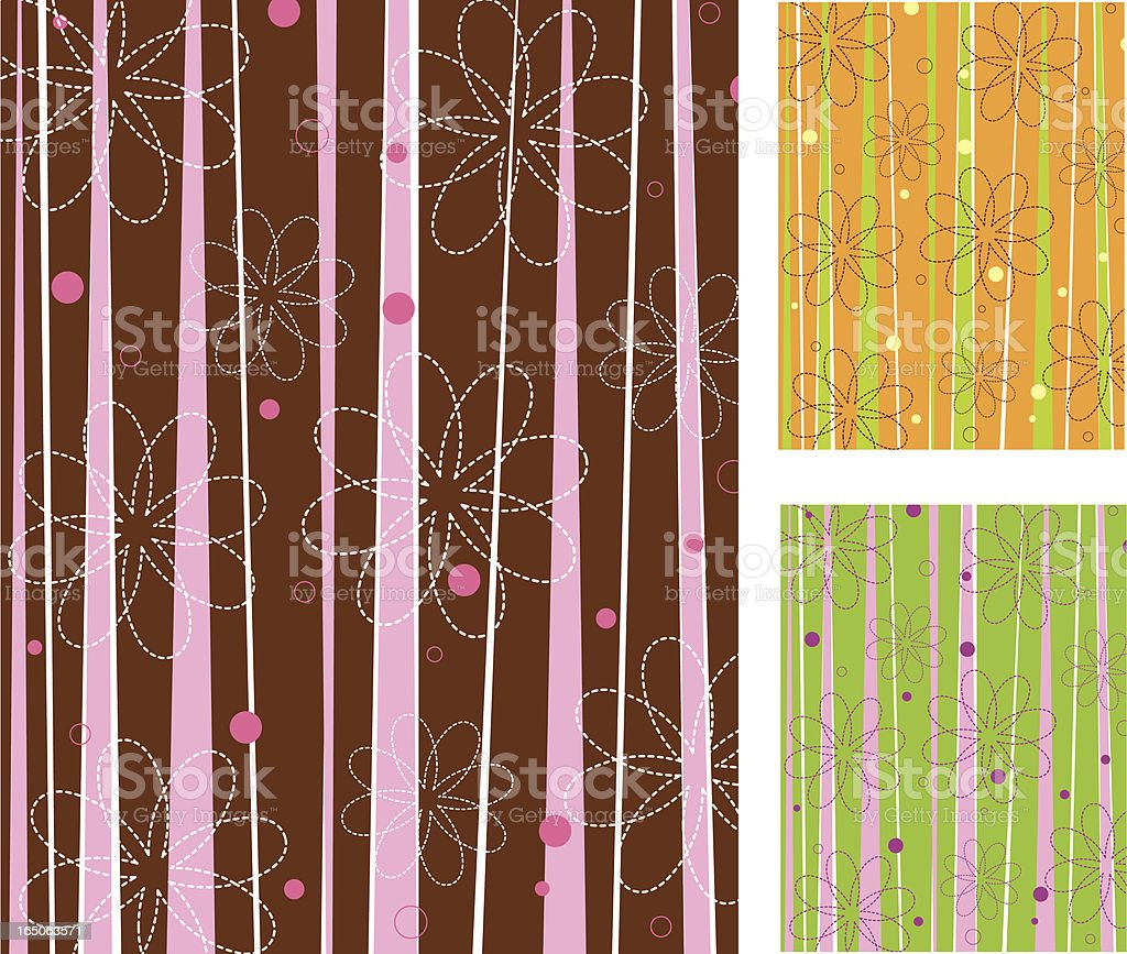 Retro stripes and flowers royalty-free stock vector art