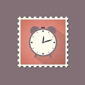 Retro style alarm clock flat stamp with shadow.