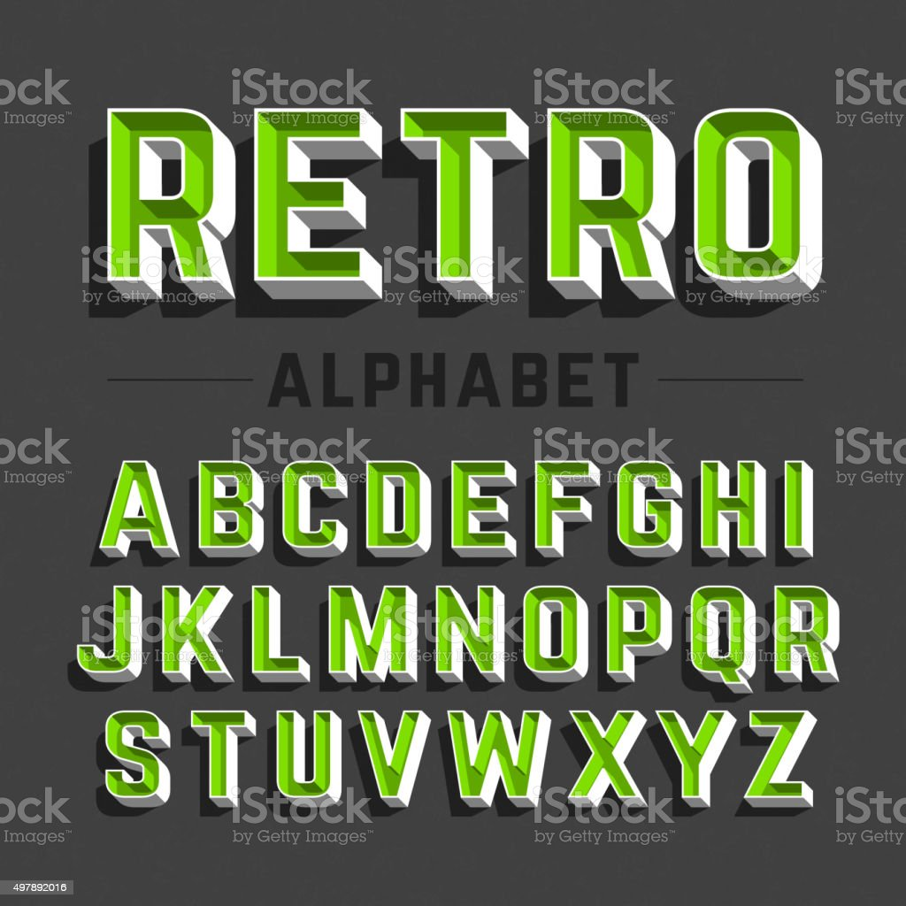 Retro style alphabet vector art illustration