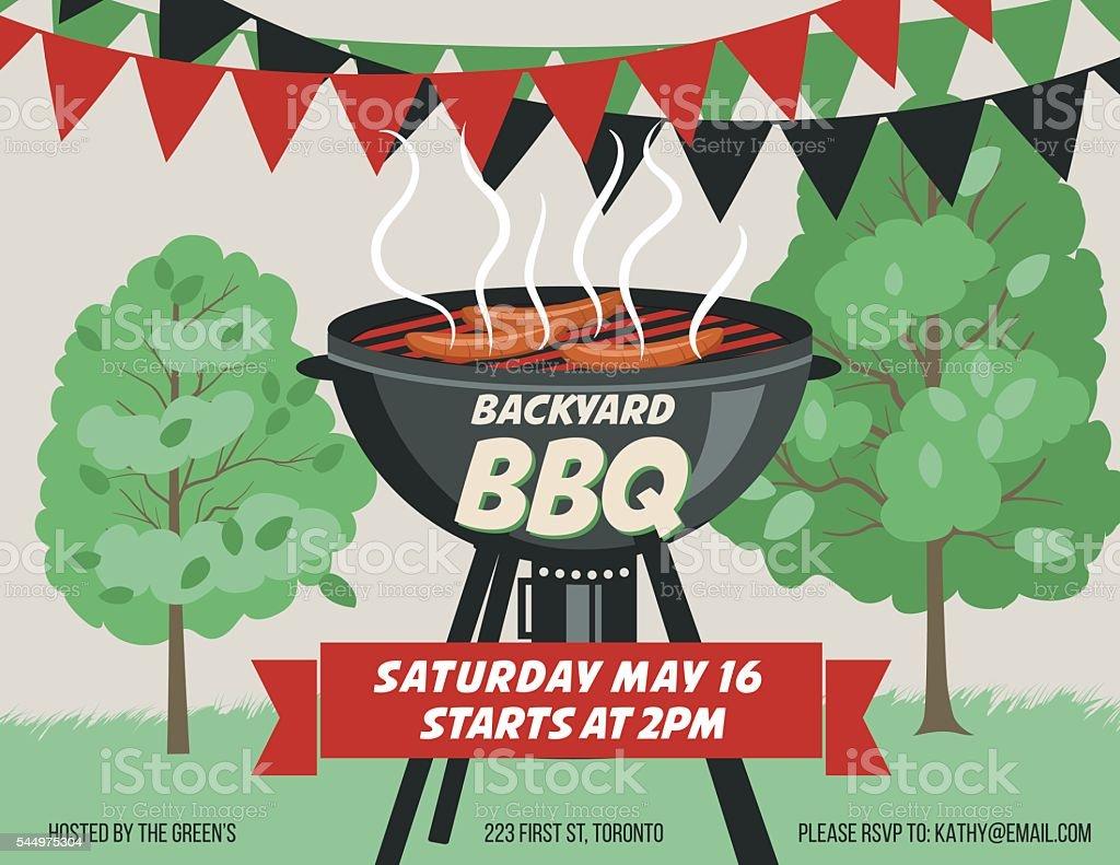 Retro Style BBQ Party Invitation Template vector art illustration