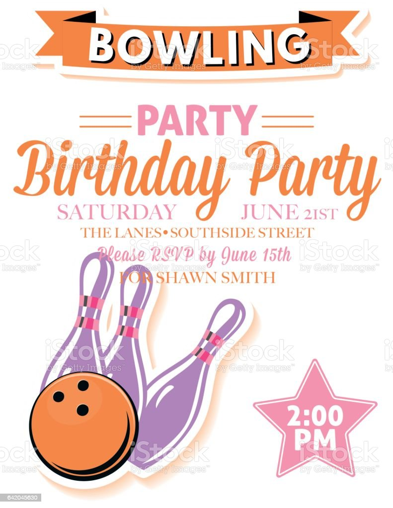 retro style bowling birthday party invitation template のイラスト