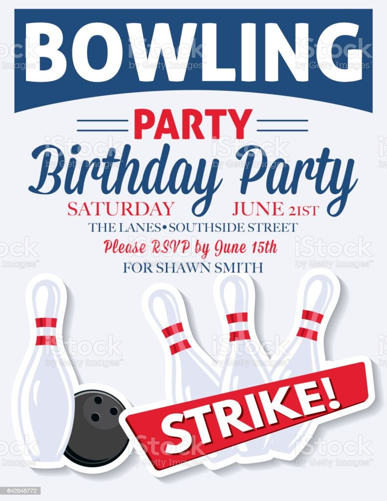 Retro Style Bowling Birthday Party Invitation Template Vektor