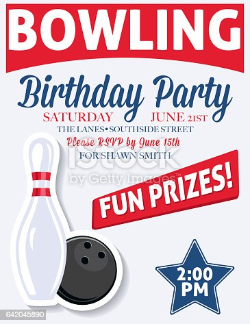 Retro Style Bowling Birthday Party Invitation Template stock ...