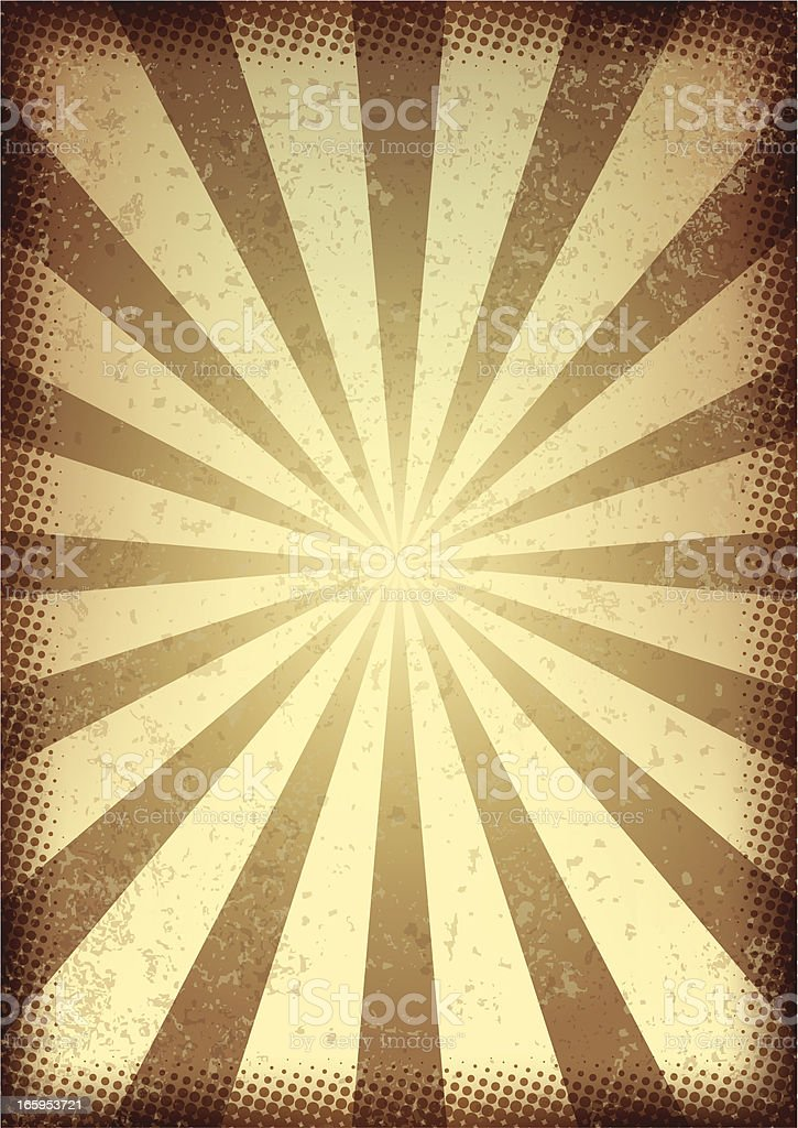 Retro style brown and cream sunbeam background  vector art illustration