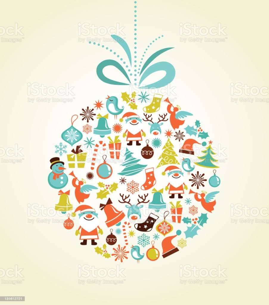 Retro style Christmas bauble with montage graphics in pastel vector art illustration
