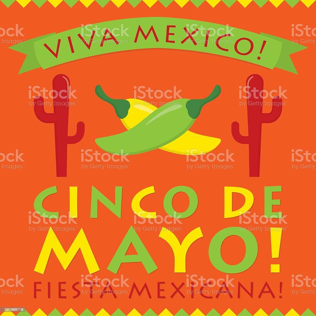 Retro style Cinco De Mayo card in vector format. vector art illustration