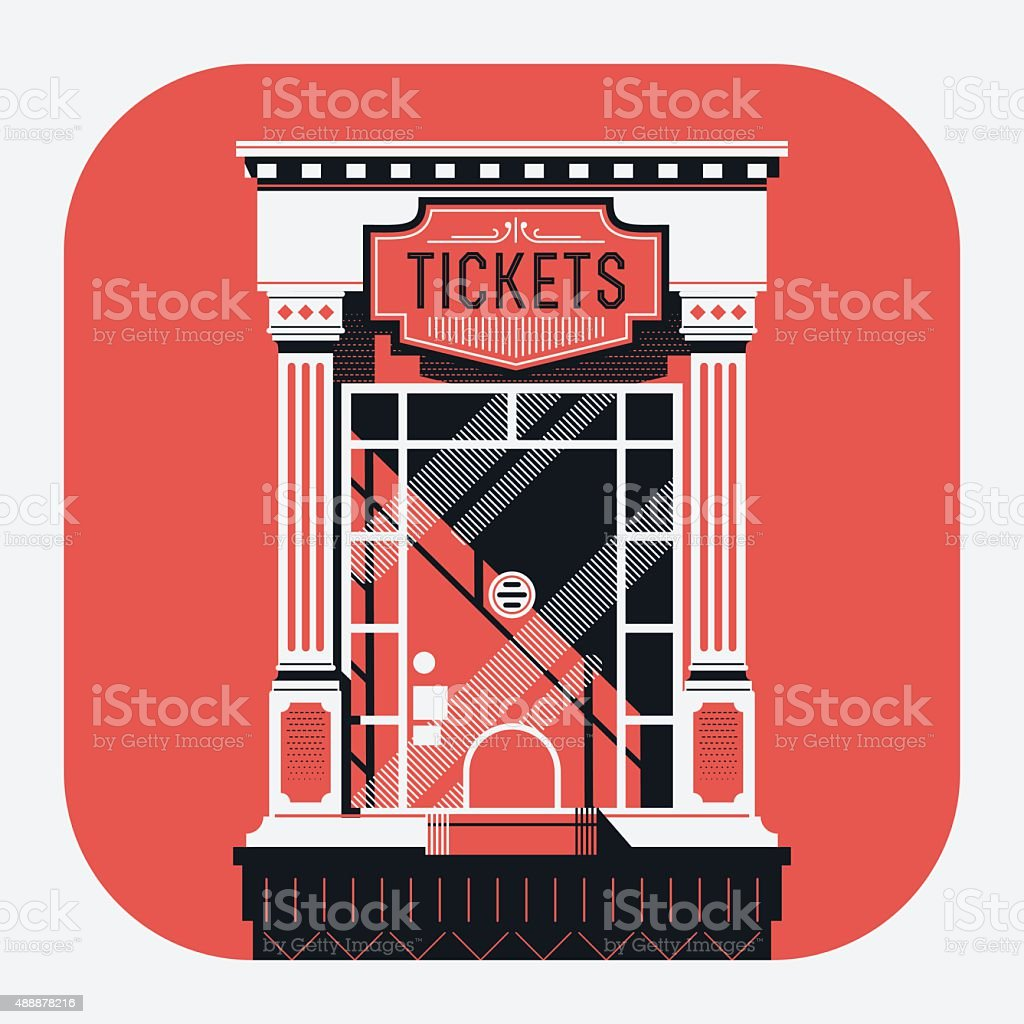 retro style cinema movie theater tickets booth window vector art illustration