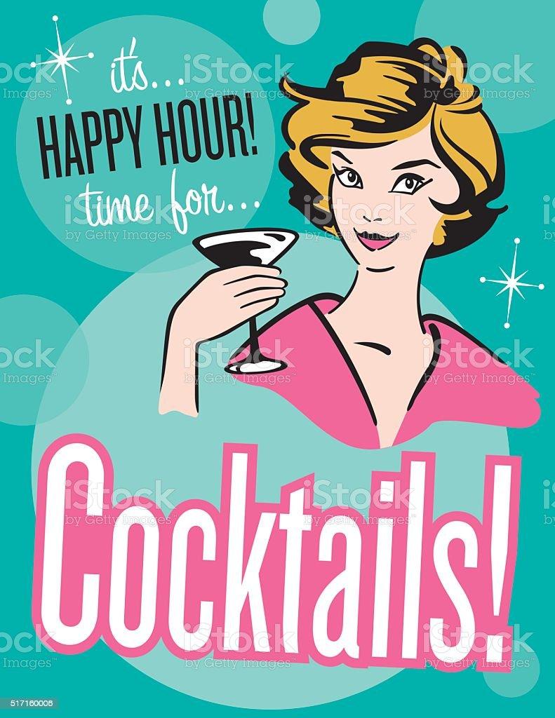 Retro style Cocktails poster or invitation vector art illustration