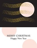 Retro Style Geometric Holiday Card With Gold Glitter Designs