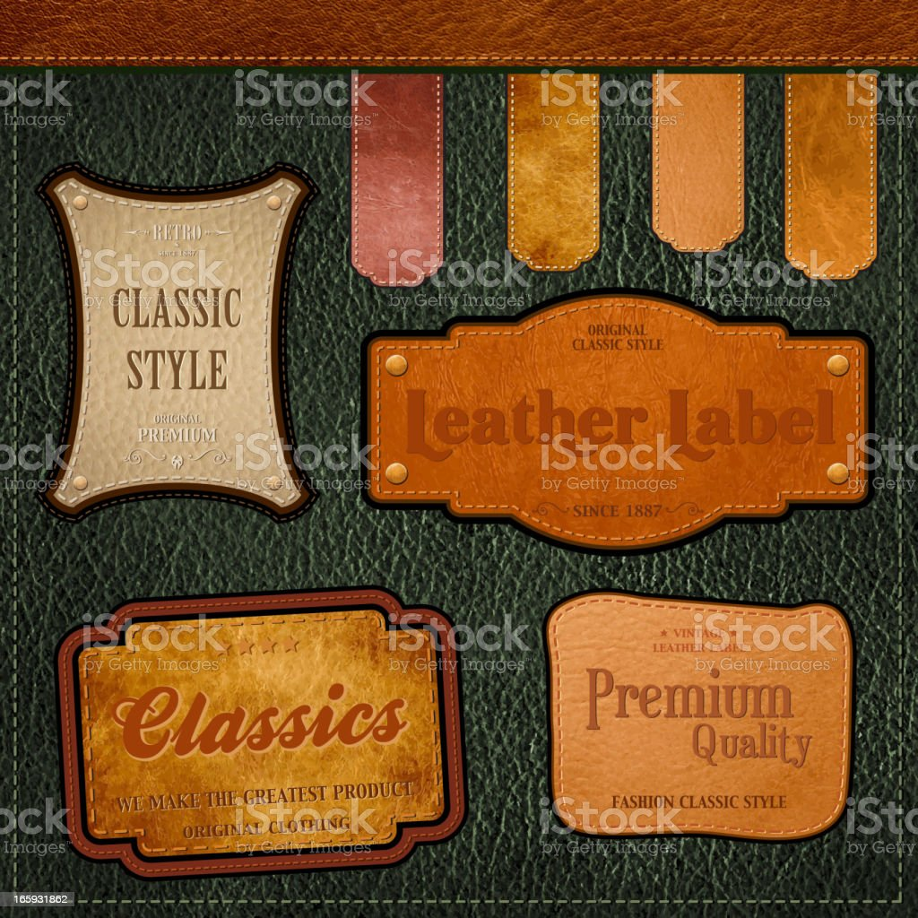 Retro style labels for leather items vector art illustration