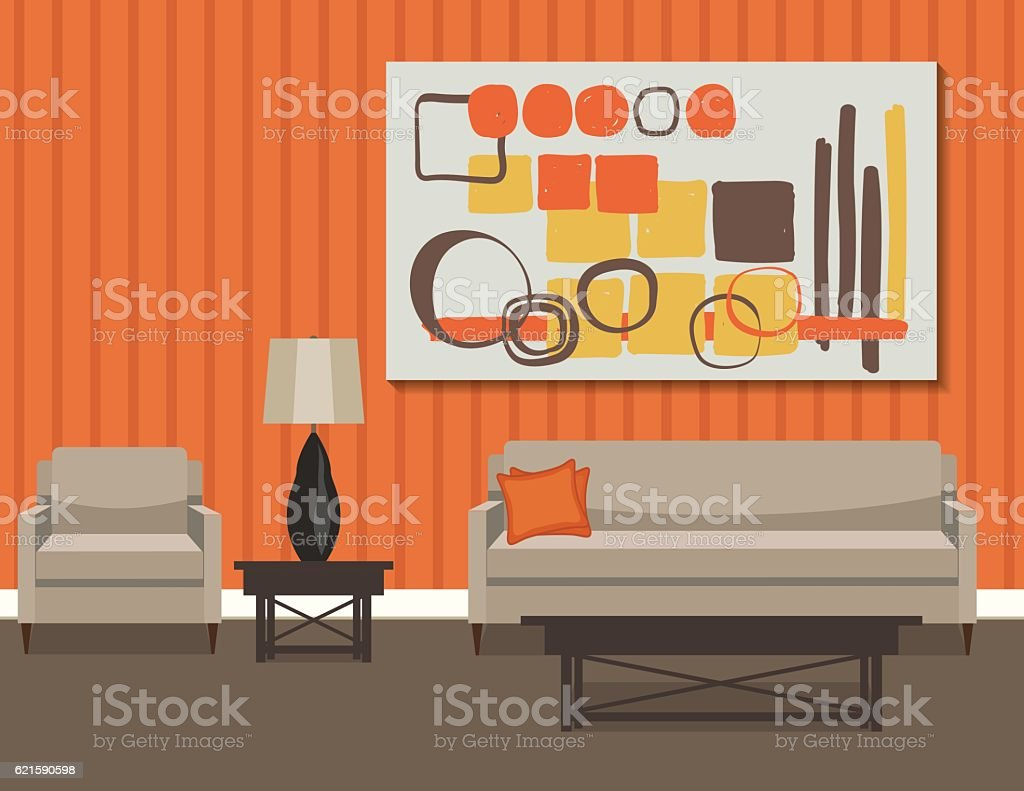 Retro Style Living Room With Sofa and Art vector art illustration