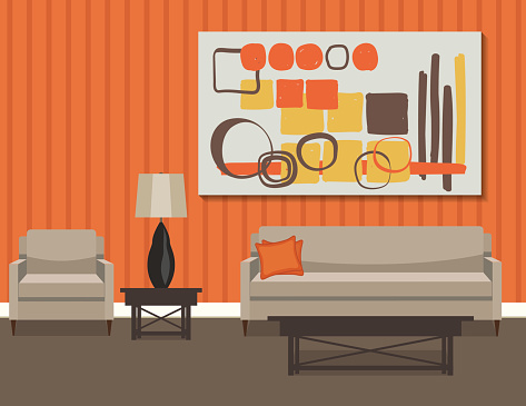 Retro Style Living Room With Sofa And Art Vector Illustration