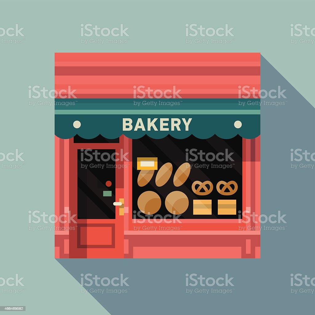 Retro style local bakery pink facade vector art illustration