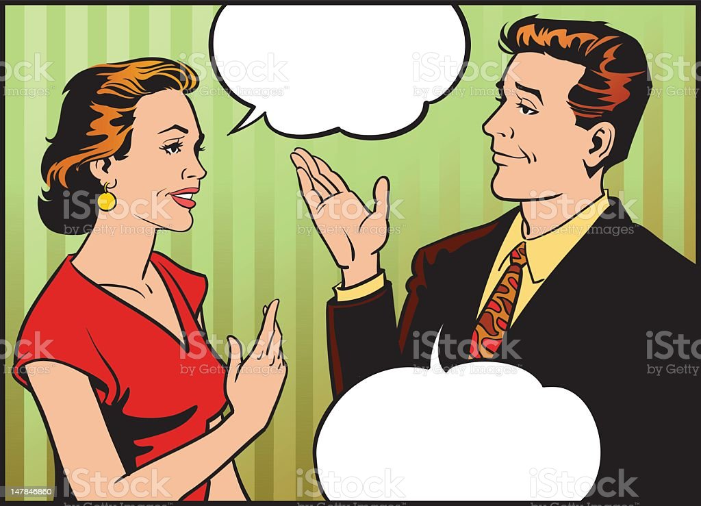 Retro Style Man and Woman Talking royalty-free stock vector art