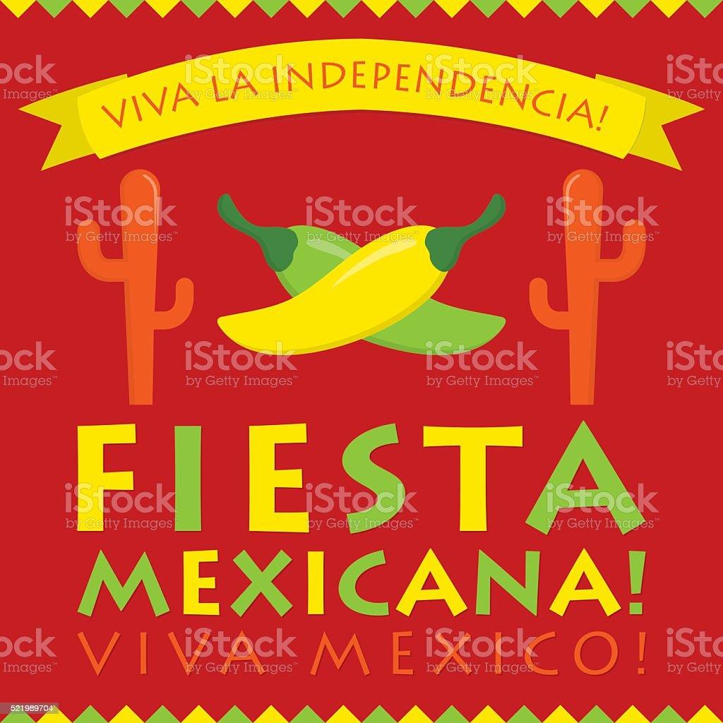 Retro style Mexican Fiesta card in vector format. vector art illustration