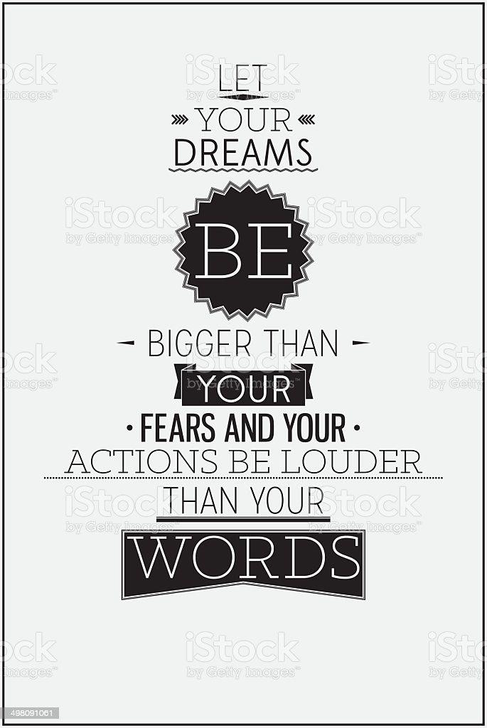 Retro style motivational poster with typography compositions vector art illustration