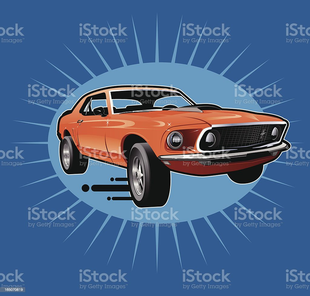 Retro Style Mustang Sports Car vector art illustration