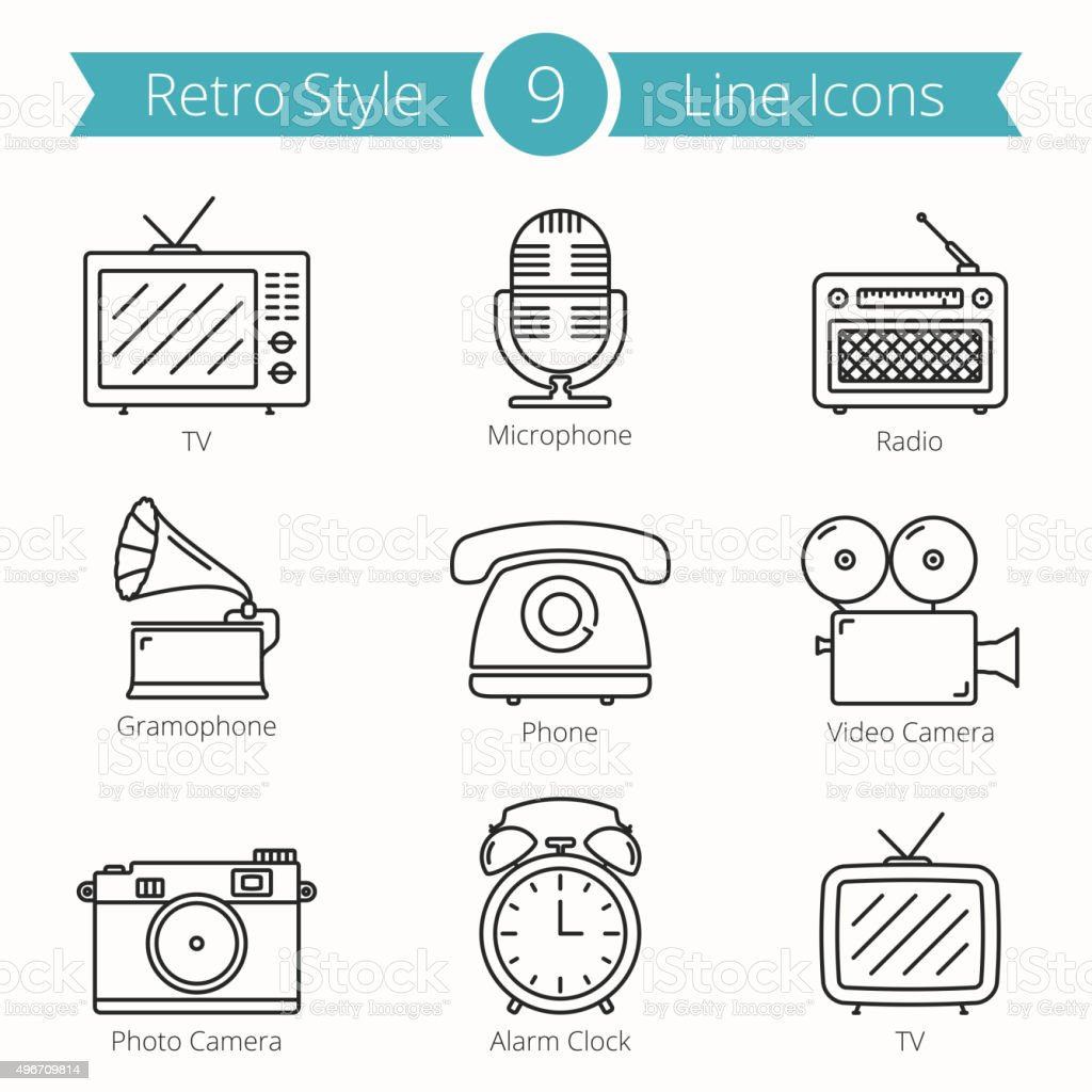 Retro Style Objects Line Icons vector art illustration