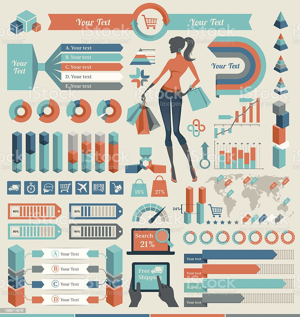 Retro style orange and blue infographic elements royalty-free stock vector art