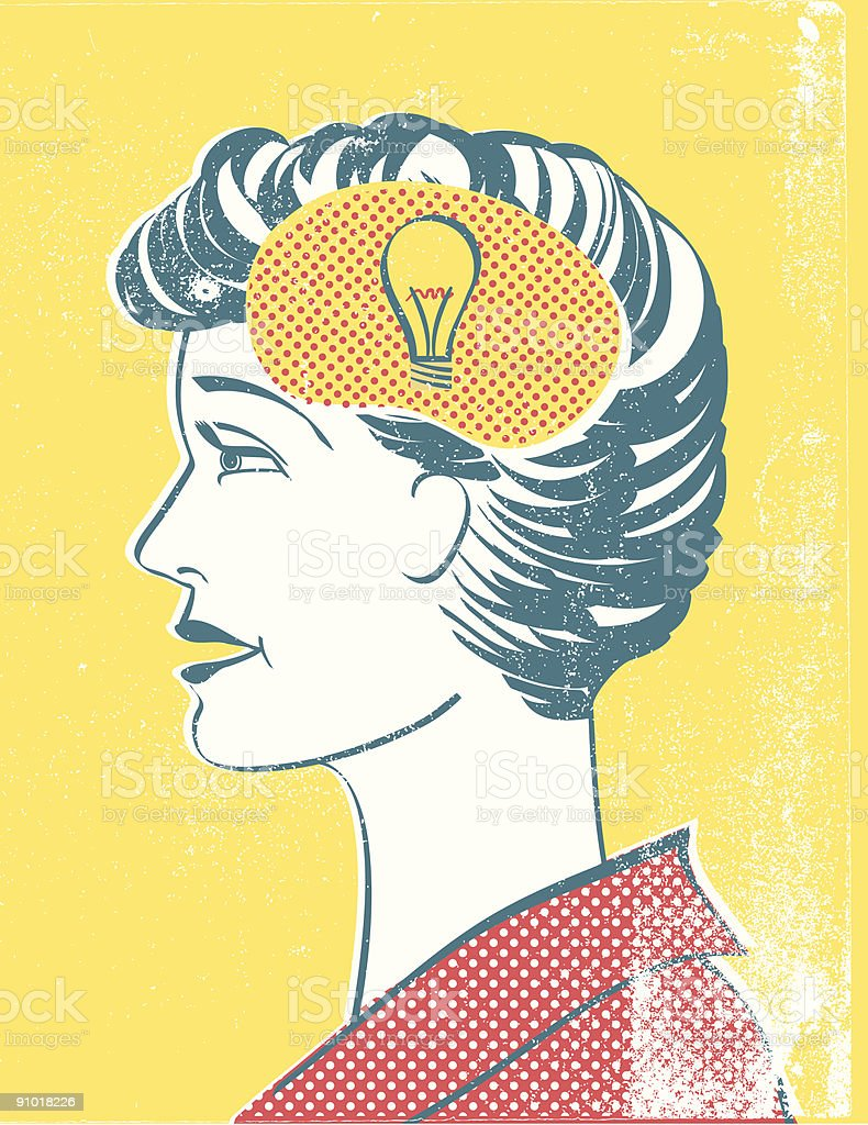 Retro style profile of a woman with lightbulb. royalty-free stock vector art