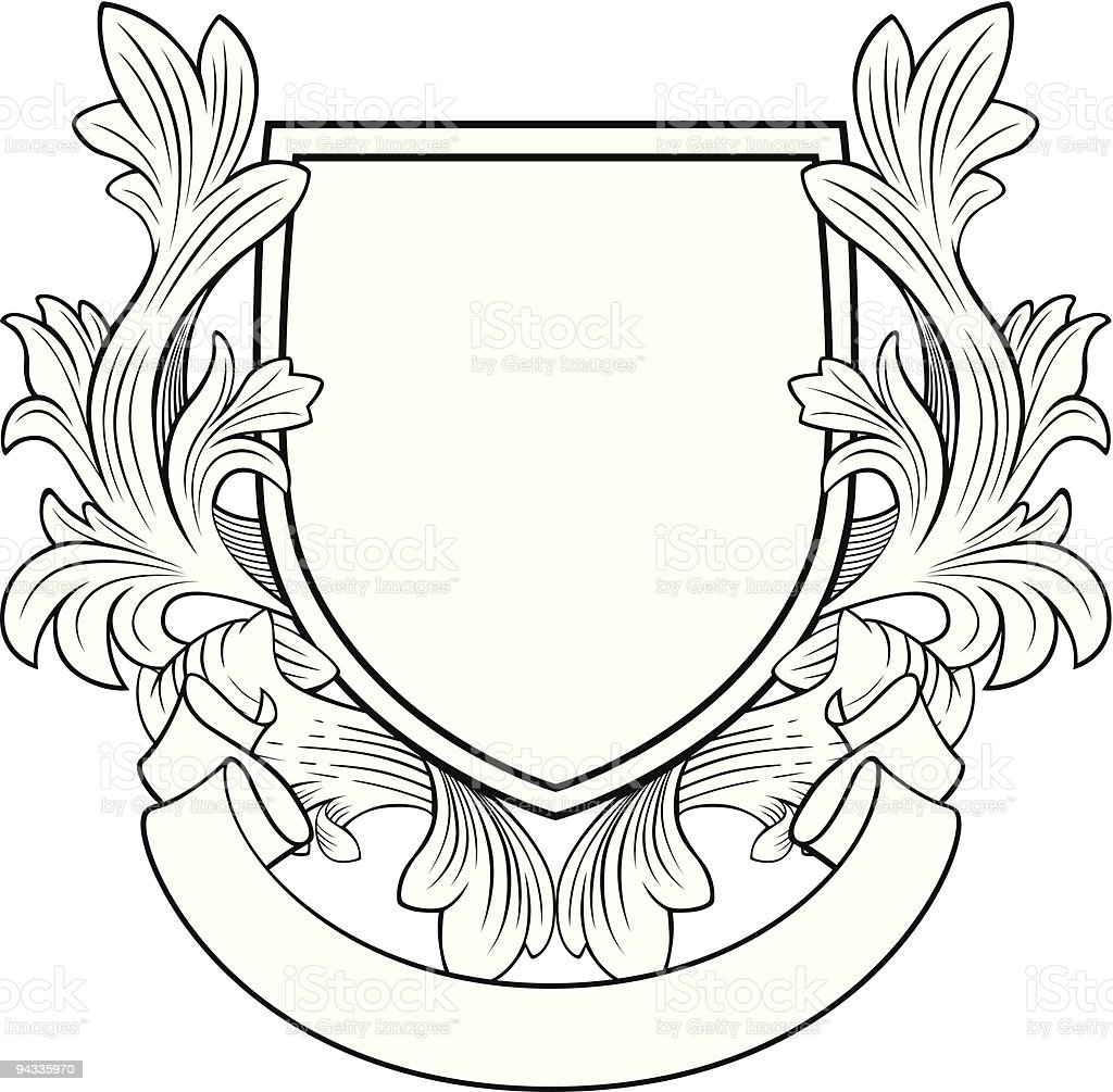 Retro Style Shield and Banner vector art illustration