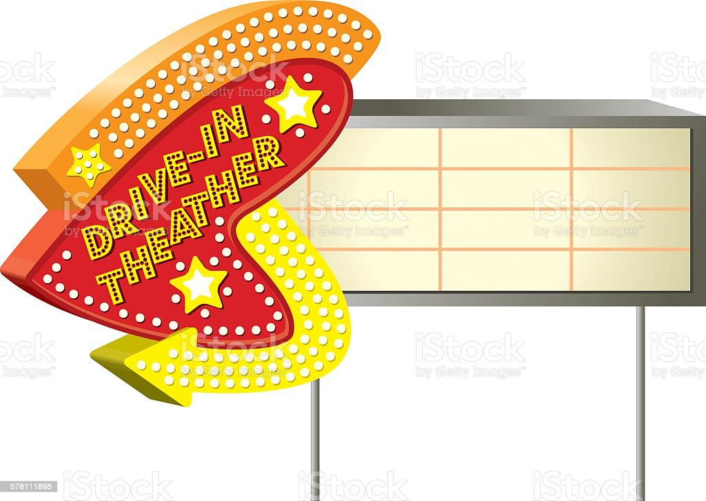 Retro Style Sign Drive in Theather vector art illustration