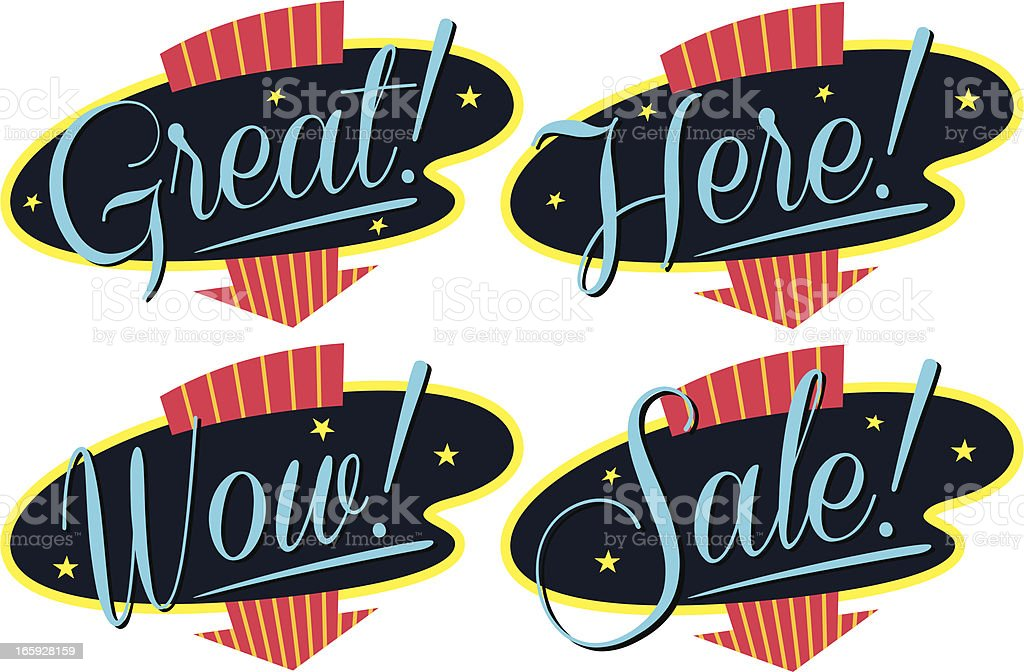 retro style signs royalty-free stock vector art
