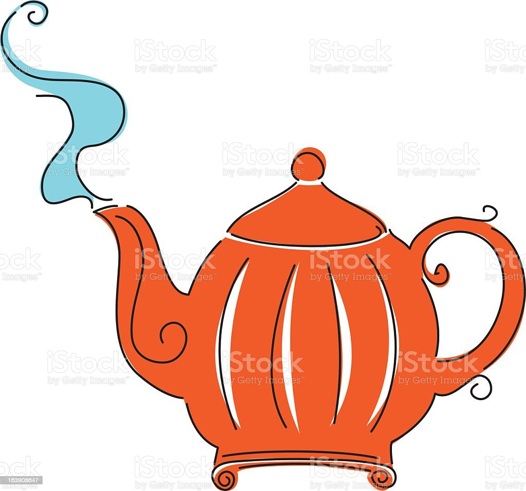 Retro Style Sketchy Teapot vector art illustration