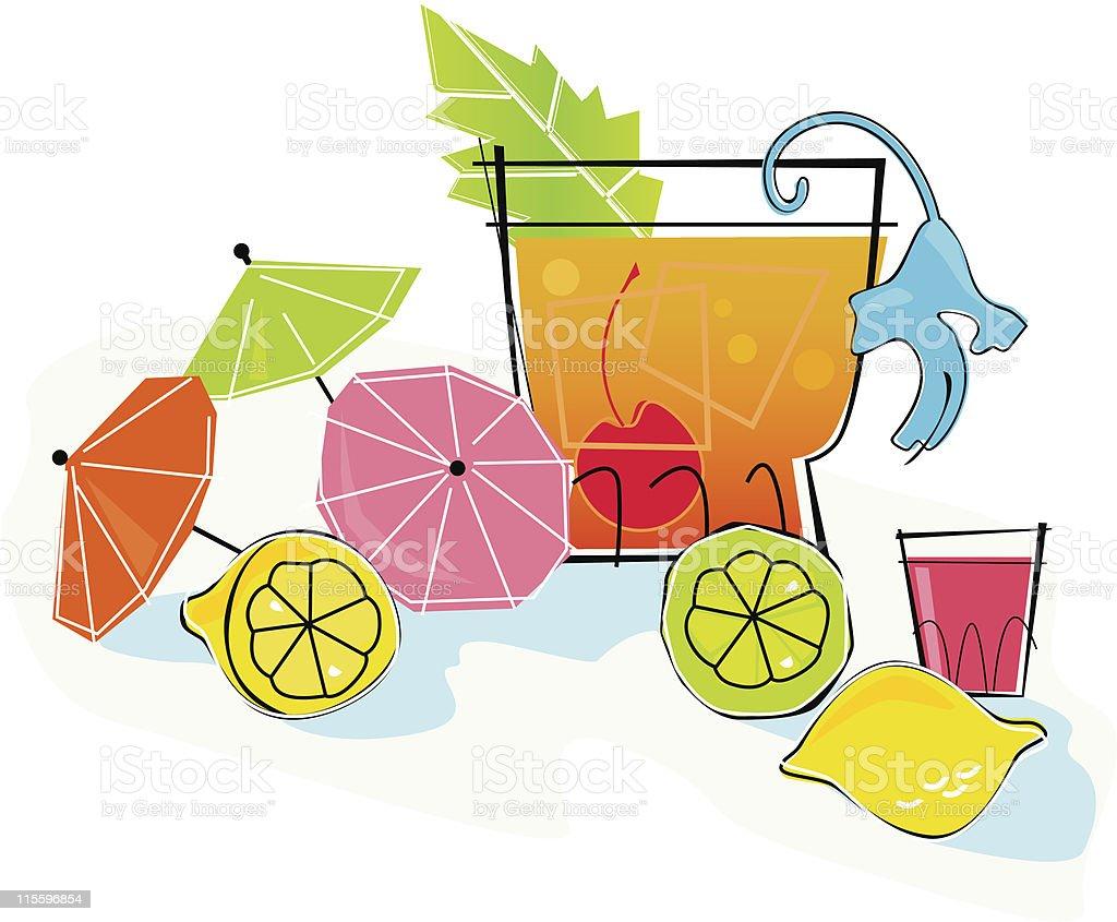 Retro Style Tequila Sunrise Cocktail vector art illustration