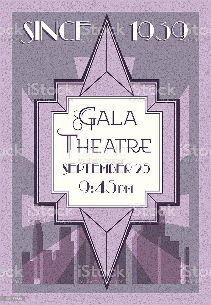 Retro style theatre poster, Art Deco  vector art illustration