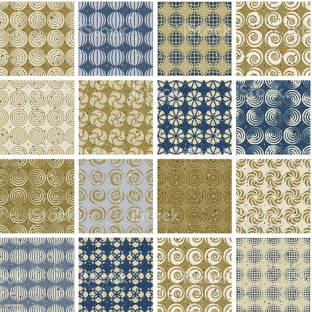 Retro style tiles seamless patterns set, vector backgrounds royalty-free stock vector art