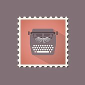 Retro style typewriter flat stamp with shadow.