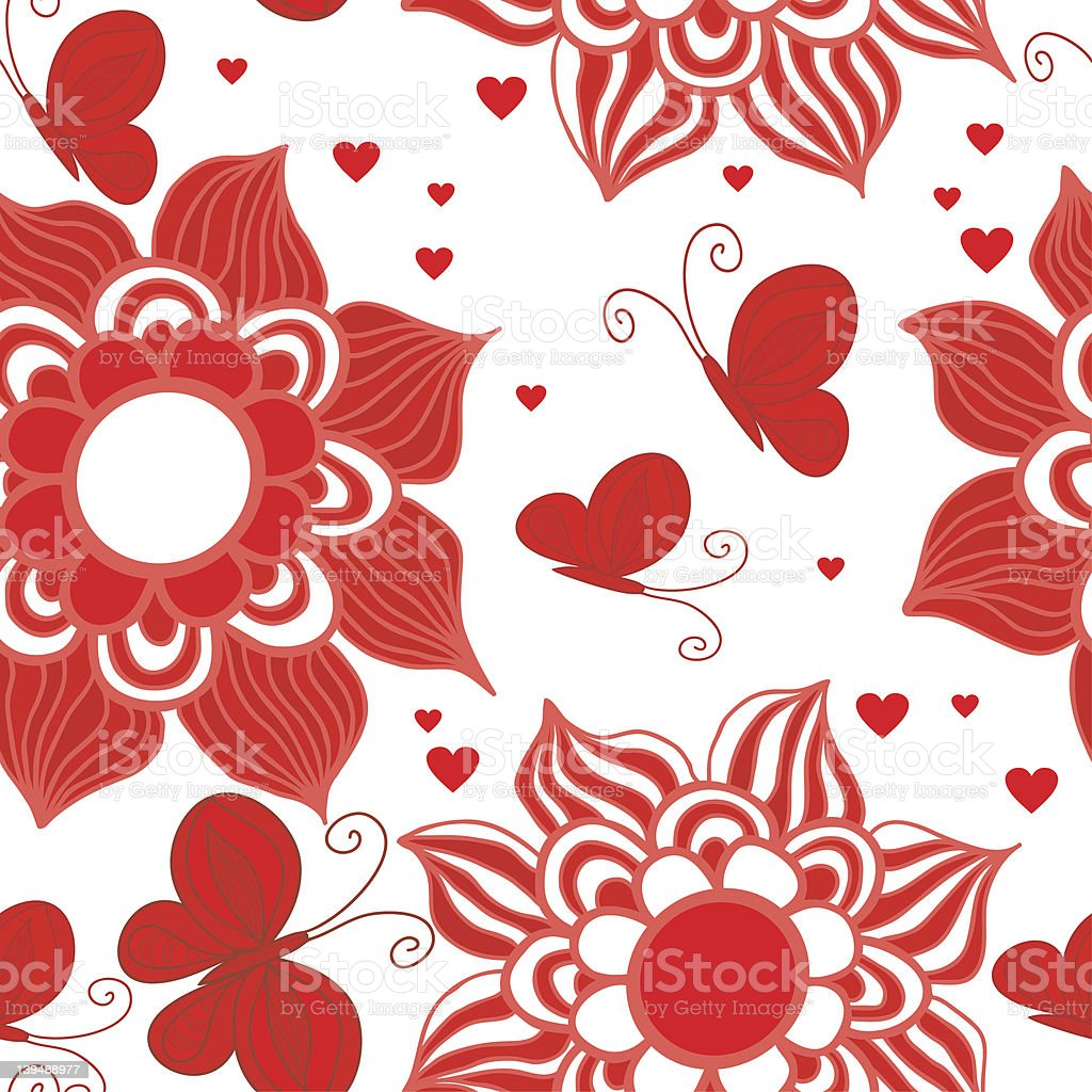 Retro Style Valentine Pattern with butterfly and flowers royalty-free stock vector art