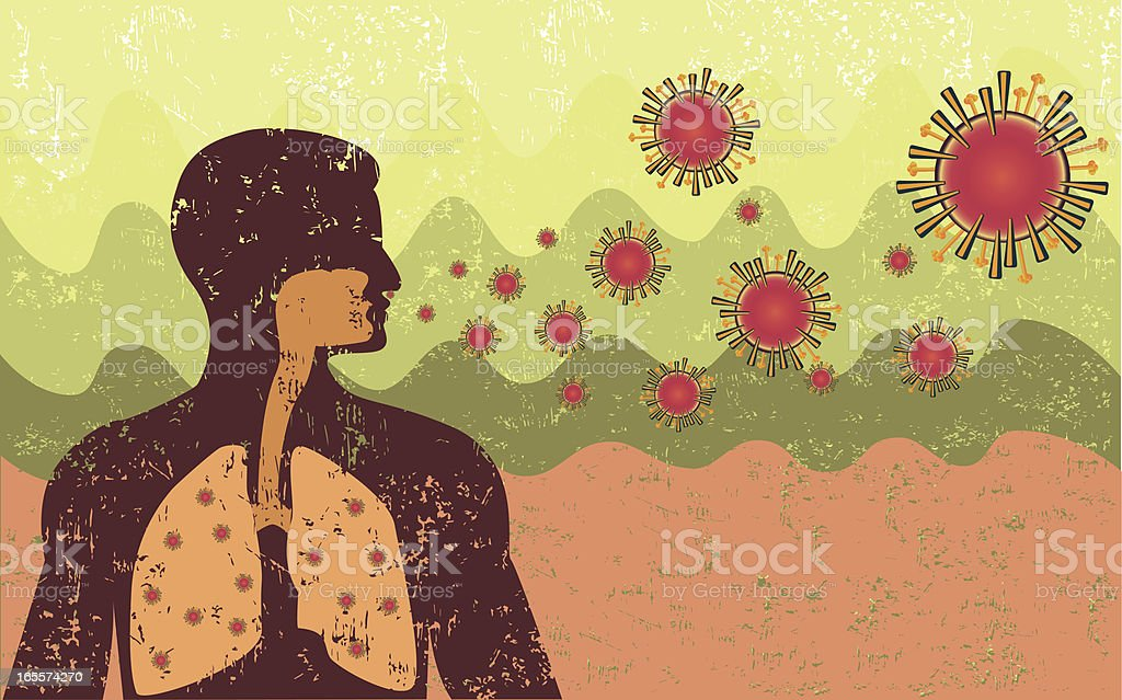 Retro Style Virus Infection vector art illustration