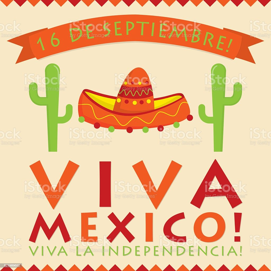 Retro style Viva Mexico (Mexican Independence Day) card in vecto vector art illustration