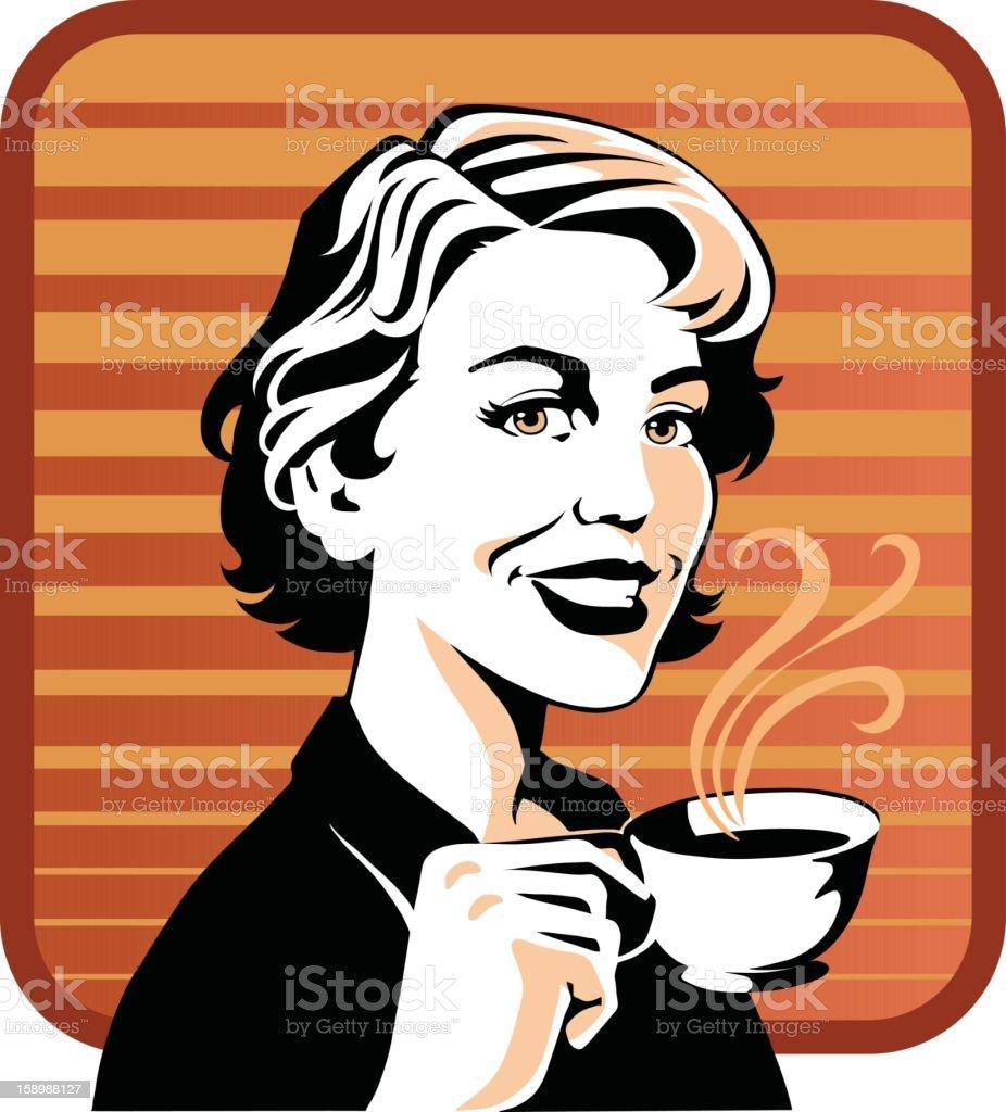 Retro Style Woman Drinking Coffee royalty-free stock vector art