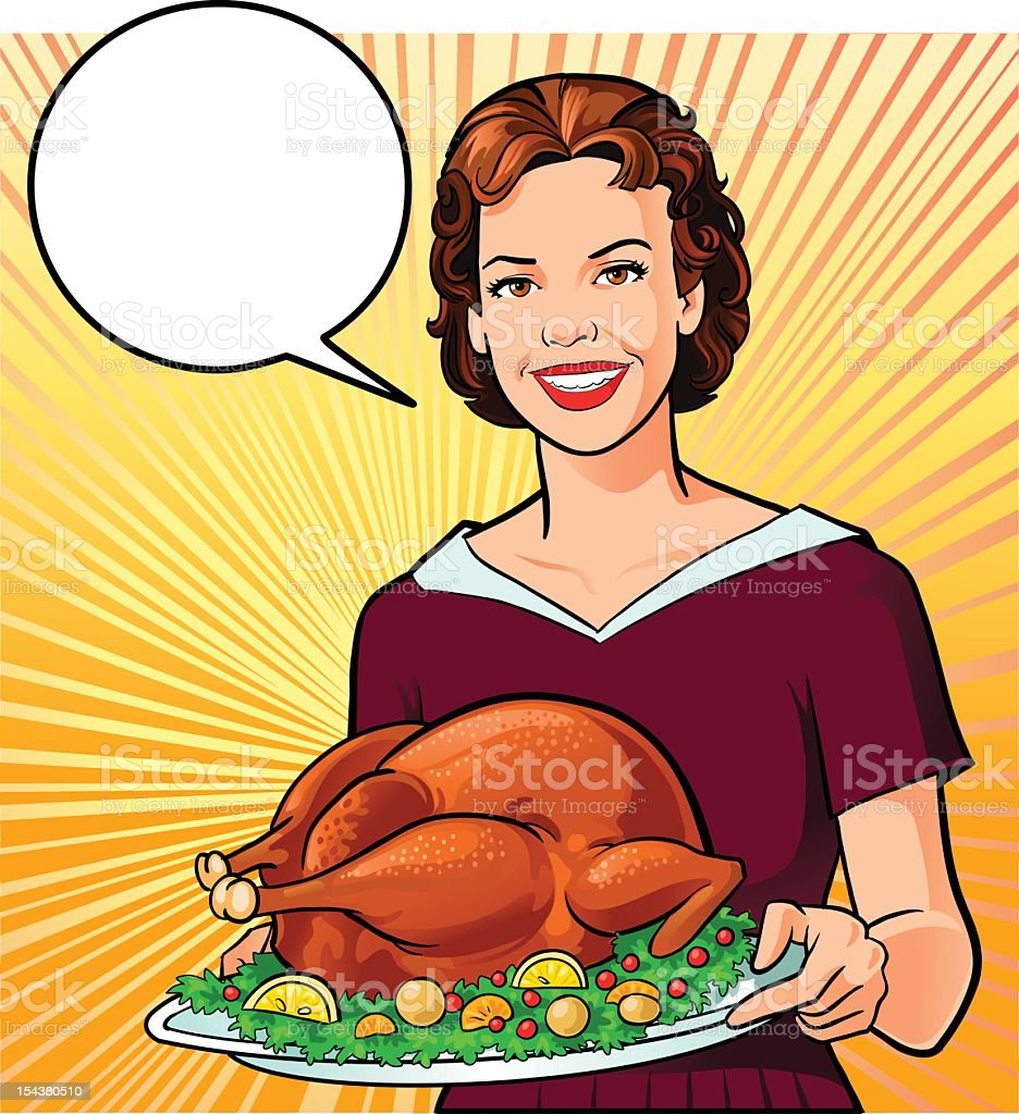 Retro Style Woman Holding Roasted Turkey royalty-free stock vector art
