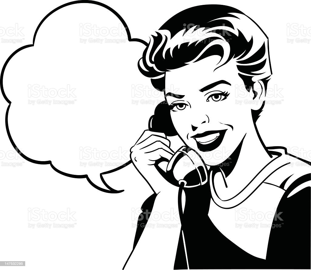 Retro Style Woman on the Phone royalty-free stock vector art