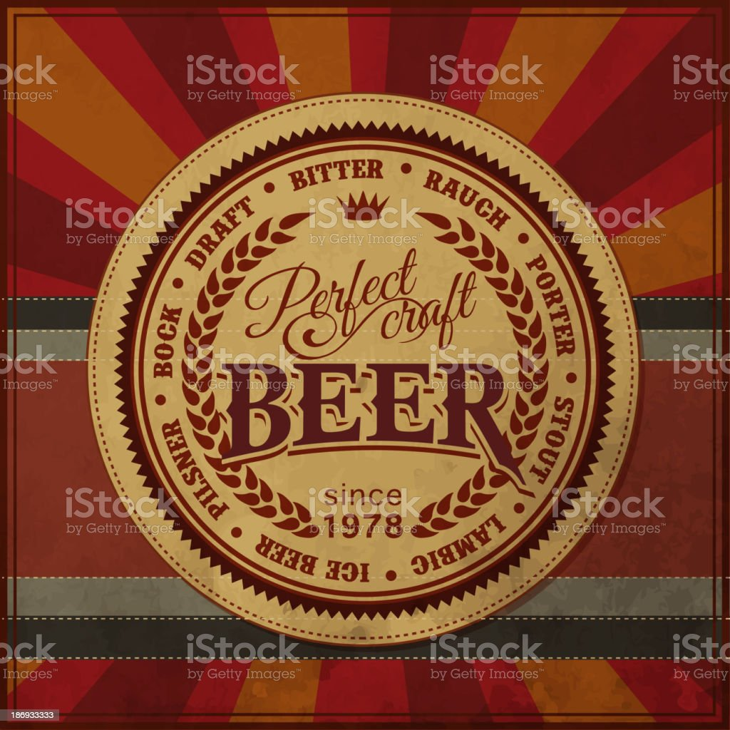 Retro Styled Beer Poster royalty-free stock vector art
