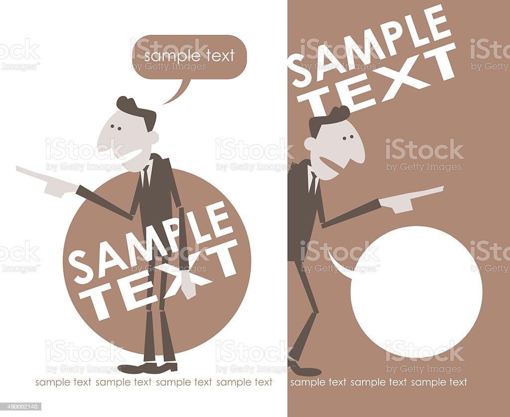 Retro Styled Businessman Talking and Showing (pointing by index finger) vector art illustration